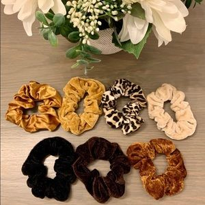 7 Neutral Scrunchies - Leopard, Nude